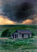 Clapboard House Posters - Storm over Abandoned House Poster by Jill Battaglia