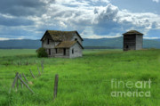 Abandoned Buildings Prints - Storm Over Big Sky  Print by Sandra Bronstein