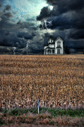 Winter Storm Posters - Storm Over Farmhouse Poster by Jill Battaglia
