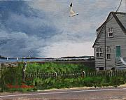 New England Lighthouse Paintings - Storm Over Hull by Laura Lee Zanghetti