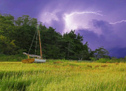 Storm Clouds Cape Cod Metal Prints - Storm Over Knotts Island Metal Print by Charles Harden