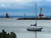 Lighthouse Prints - Storm Over Mackinac Print by Pamela Baker