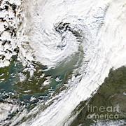 Floods Posters - Storm Over Northern Europe Poster by NASA / Science Source