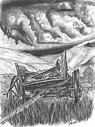 Storm Clouds Drawings Posters - Storm over Wagon Poster by Russ  Smith