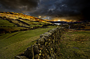 Wall Stone Wall Framed Prints - Storm Over Windermere Framed Print by Meirion Matthias