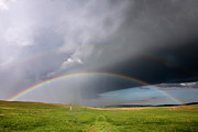Prairie Photography Posters - Storm Rainbow Prairie Poster by Ryan McGinnis