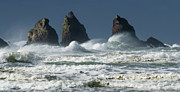 Haystack Rocks Prints - Storm Warning Print by Bob Christopher