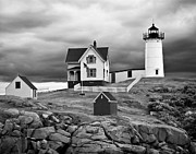 Nubble Lighthouse Posters - Storm Warning Poster by Jim Chamberlain