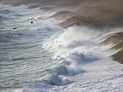 Chesil Beach Prints - Storm Waves At Chesil Beach Print by Adrian Bicker