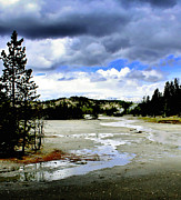 Yellowstone Digital Art Metal Prints - Stormclouds over Norris Basin Metal Print by Ellen Lacey