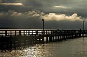Town Pier Framed Prints - Storms Brewin Framed Print by Clayton Bruster