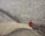 Ski Paintings - Stormskier by Michael Cuozzo