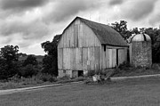 White Barns Prints - Stormy Barn Print by Perry Webster