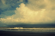 Rolling Waves Posters - Stormy Clouds at Folly Beach SC Poster by Susanne Van Hulst