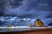 Leaden Sky Prints - Stormy Clouds in Cannon Beach Print by Niels Nielsen