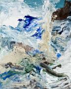 Realistic Mixed Media Originals - Stormy Coastline by Deirdre Heller