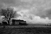 Black And White Rural Photography Prints - Stormy Day on the Farm Print by Larry Ricker