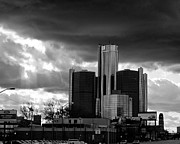 Renaissance Center Framed Prints - Stormy Detroit GM Building - Black and White Framed Print by Alanna Pfeffer