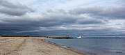Storm Clouds Cape Cod Metal Prints - Stormy Evening Bass River Jetty Cape Cod Metal Print by Michelle Wiarda