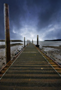 Angling Photo Framed Prints - Stormy Jetty Framed Print by Meirion Matthias