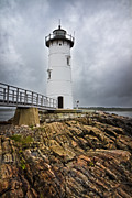 New England Lighthouse Prints - Stormy Lighthouse Print by Robert Clifford