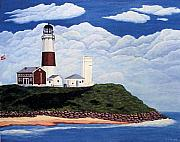 Historic Buildings Paintings - Stormy Montauk Point Lighthouse by Frederic Kohli