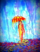 Woman In Water Painting Posters - Stormy Mood 2 Poster by Connie Valasco