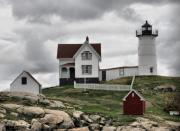 Nubble Lighthouse Originals - Stormy Nubble by Monnie Ryan