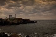 Cape Neddick Lighthouse Prints - Stormy Nubble Print by Timothy Johnson