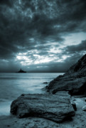 Monochromatic Posters - Stormy Ocean Poster by Jaroslaw Grudzinski