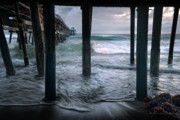 San Clemente Pier Posters - Stormy Pier Poster by Gary Zuercher