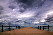 Storm Clouds Posters - Stormy pier Poster by Richard Thomas
