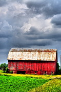 Red Barns Framed Prints - Stormy Red Framed Print by Emily Stauring