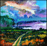 Storm Clouds Painting Originals - Stormy Road by John Lautermilch