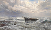 Deep Blue Sea Paintings - Stormy Seas by Henry Moore