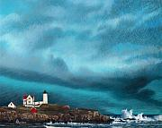 Maine Drawings Prints - Stormy Sentinel Print by Brent Ander