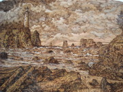 Lighthouse Pyrography Posters - Stormy Sentinel Poster by Doris Lindsey