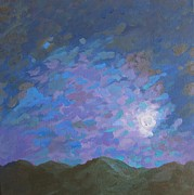Minimalistic Paintings - Stormy Sierra Moon by Vanessa Hadady BFA MA
