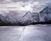 Cross-country Skiing Paintings - Stormy Ski on Eklutna by Karen Copley