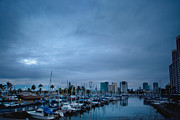 Stormy Skies Over Boat Harbor At Night, Honolulu, Hawaii Print by Inti St. Clair