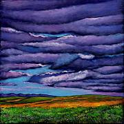 Desert Cactus Prints - Stormy Skies Over the Prairie Print by Johnathan Harris