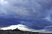 Threats Prints - Stormy sky on Marseille city Print by Sami Sarkis