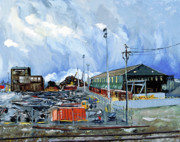 Wooden Building Painting Framed Prints - Stormy Sky Over Shipyard and Steel Mill Framed Print by Asha Carolyn Young