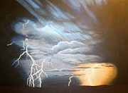 Storm Clouds Paintings - Stormy Sunset by James Francis