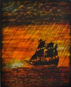 Art Glass Glass Art Originals - Stormy Sunset by Valerie Lynn