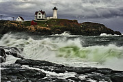 Nubble Lighthouse Prints - Stormy Tide Print by Rick Berk
