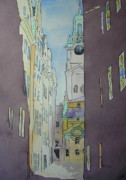 Streetscape Paintings - Stortorget by Linda Franklin
