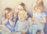 Mother Drawings Prints - Story Time Print by Betsy Gray Bell