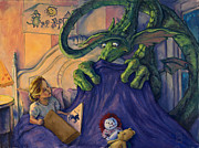 Scared Painting Metal Prints - Story Time Metal Print by Michael Orwick