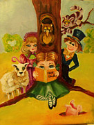Kids Books Metal Prints - Story Time Metal Print by Patricia Halstead